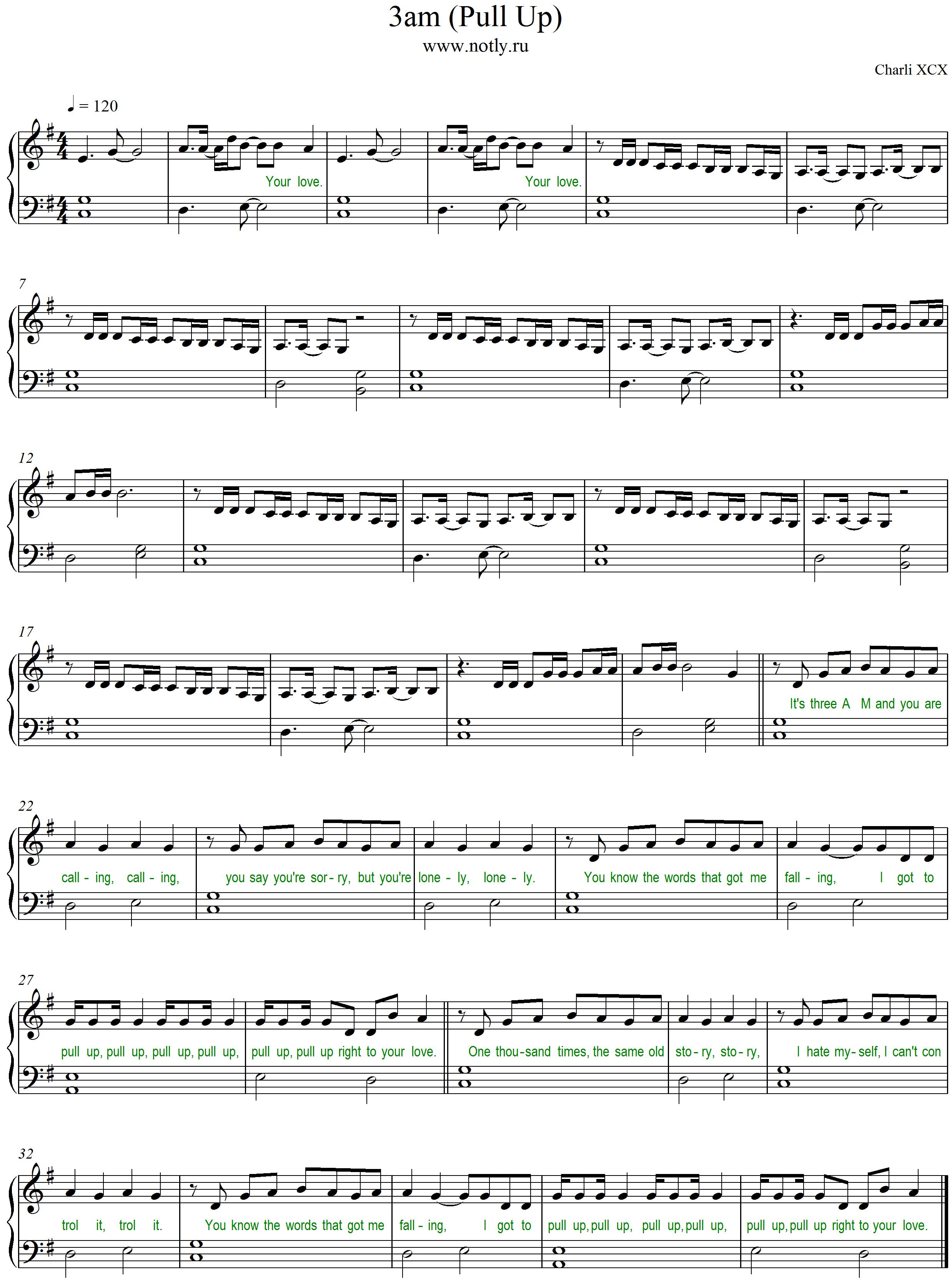Download PDF Piano Sheet Music Charli XCX — 3am Pull Up