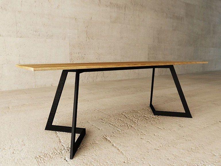 Table bureau en acier et bois fara by lagerform tables
