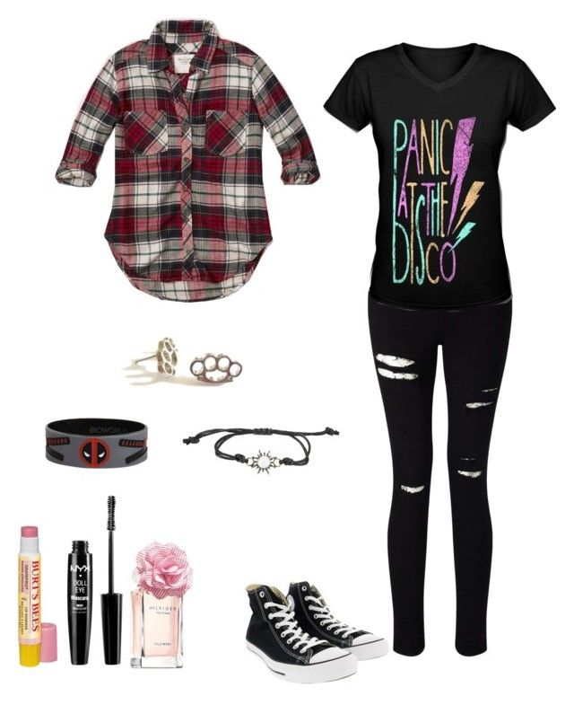 """""""Surprise set for @nerdtastical"""" by darksnowwitch ❤ liked on Polyvore featuring Converse, Miss Selfridge, Abercrombie & Fitch, Burt's Bees, NYX and Tommy Hilfiger"""