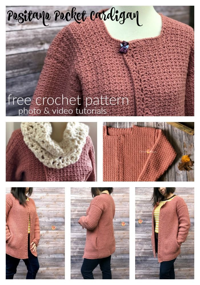 096a44731fd5b1 Free crochet cardigan pattern with pockets! This beginner friendly pattern  includes photos and video tutorials
