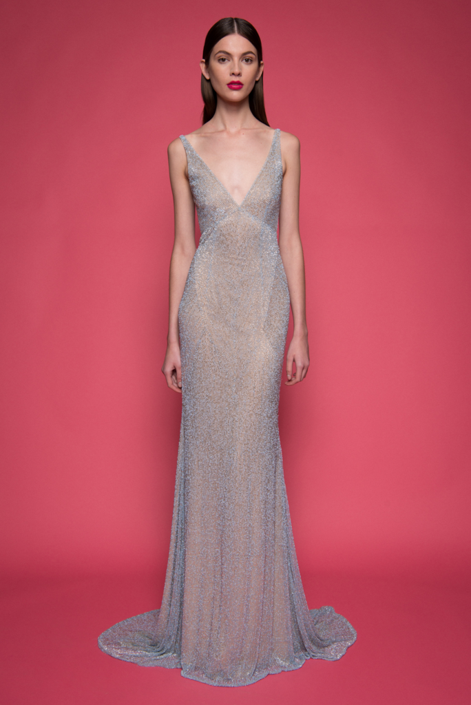 Naeem Khan V-neck caviar beaded gown with cowl back | Evening Wear ...