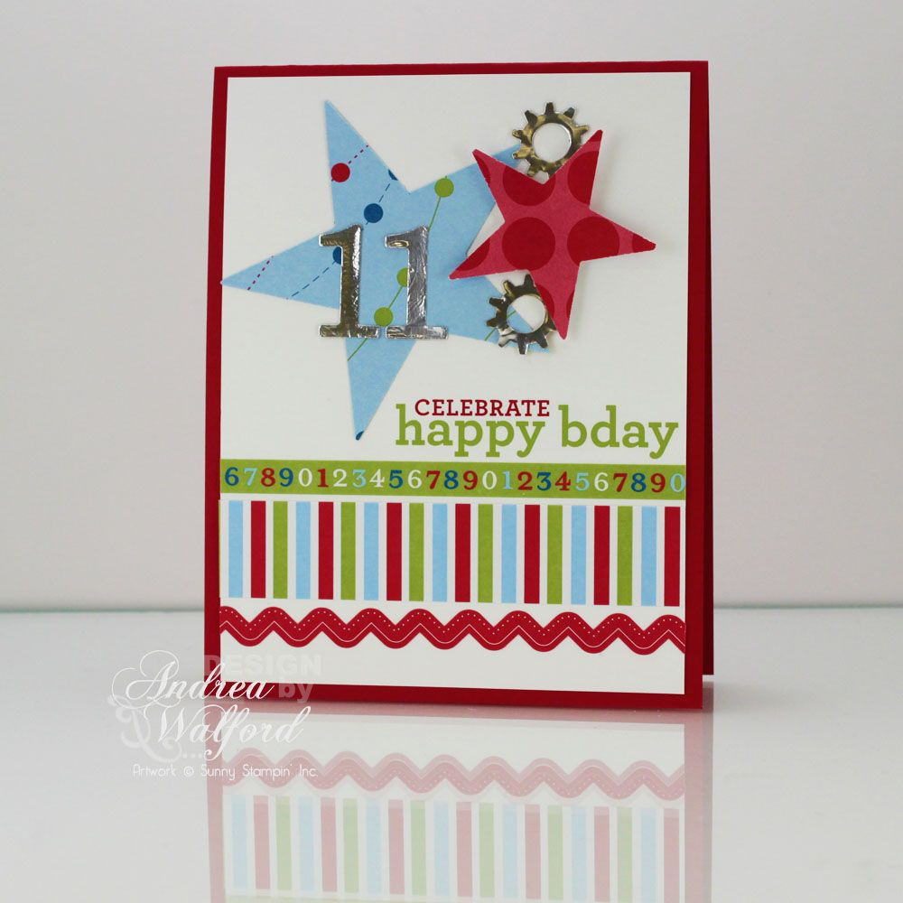 11th Birthday Card A Video Featuring Stampin Up S Celebrations Collection Andrea Walford Birthday Cards For Boys Card Making Birthday Handmade Birthday Cards