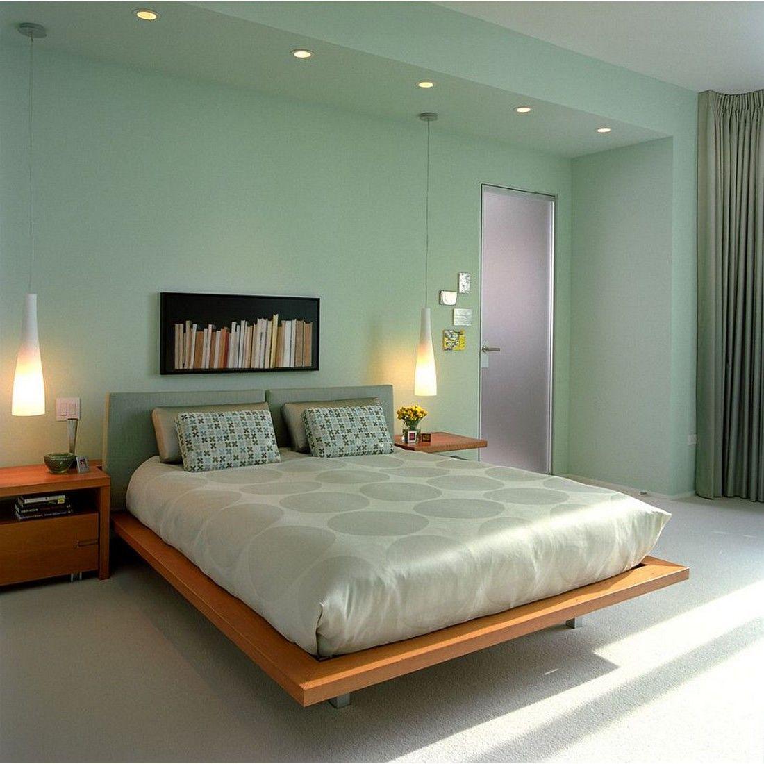 Modern Minimalist Bedroom In Soft Green Yay Or Nay Rumahkubedroom Green Bedroom Walls Mint Green Bedroom Seafoam Green Bedroom