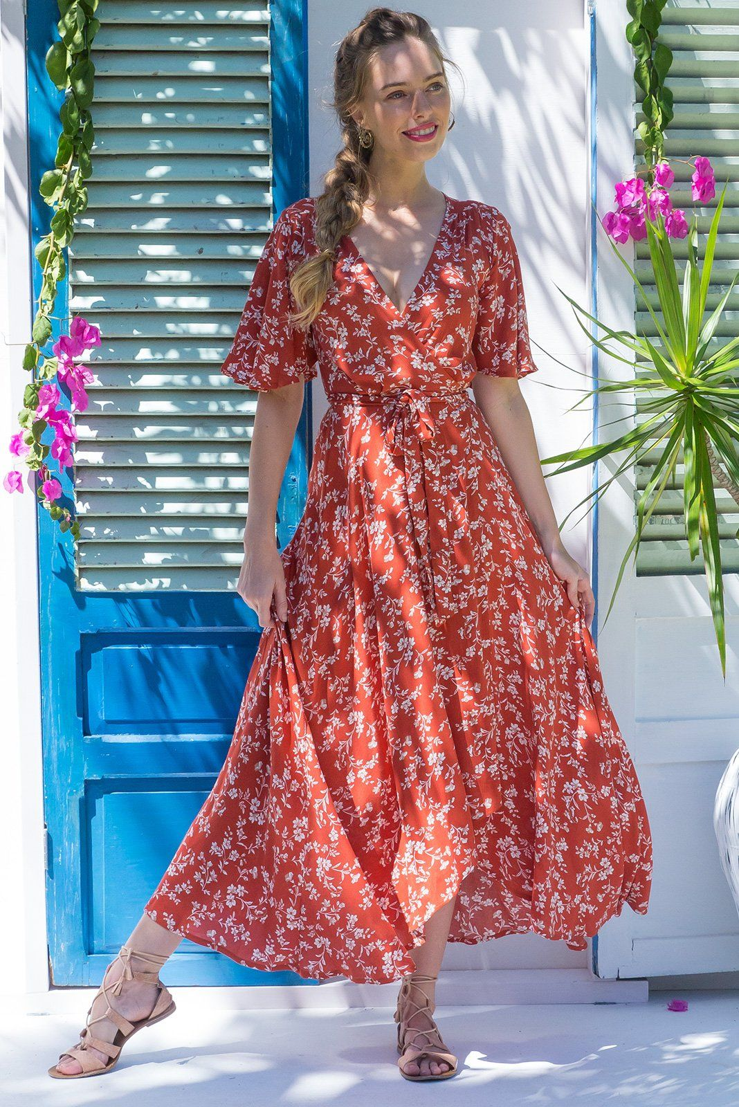 Saffron Tanna Tan Maxi Wrap Dress In Bright Terracotta With A Ditzy Floral Print On Crinkle Rayon And With A Flutter Sleeve Dresses Maxi Wrap Dress Wrap Dress [ 1600 x 1068 Pixel ]