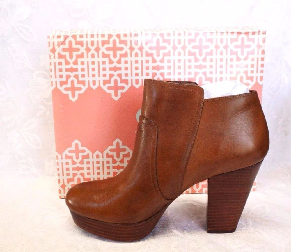 4438a56896e NEW Gianni Bini 9 M Take Too Platform Ankle Boots Tan Leather ...