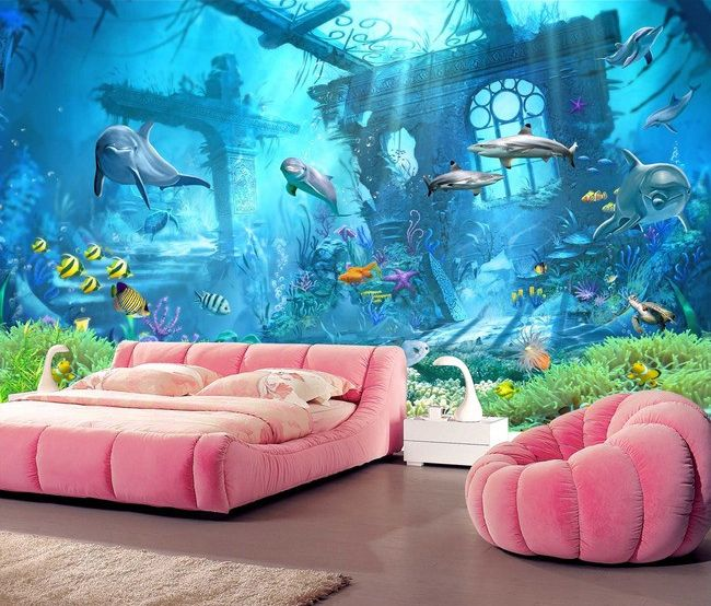 tapisserie fantaisie papier peint paysage fond marin ville angloutie wall paper for children. Black Bedroom Furniture Sets. Home Design Ideas