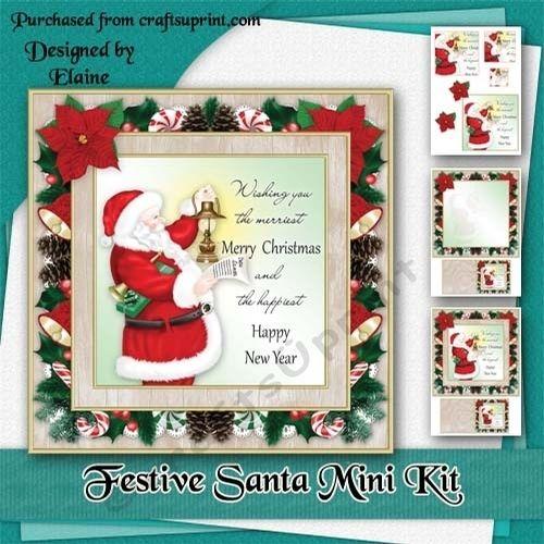 festive santa mini kit by elaine hayhoe an 8x8 christmas card kit