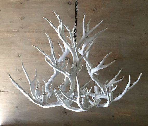 Antler Chandelier Painted Solid White And Hand Crafted Using
