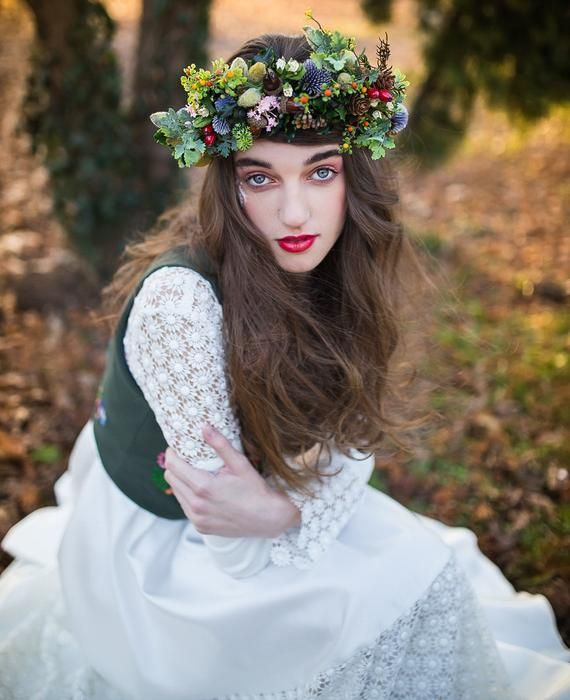 Fall Wedding Hairstyles With Flower Crown: Woodland Flower Crown Fall Wedding Tiara Hair Wreath
