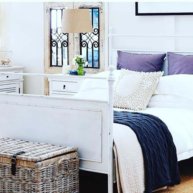 { C A L M }  There is nothing like a White Palette to create a clean, calm and romantic sleeping space in your bedroom.  We just love the look our Louis XV  Lauren Metal Bed brings to a room.  Just perfect for Hamptons' Decorating xxxx #laurenbed #louisxv