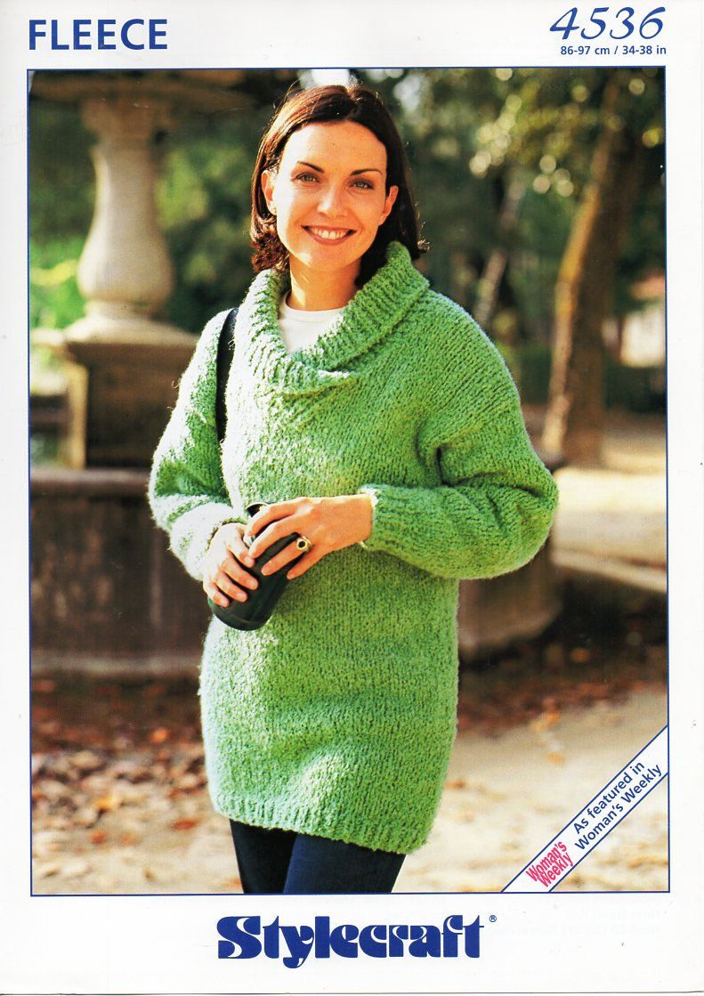 Original womens knitting pattern super chunky ladies long sweater ...