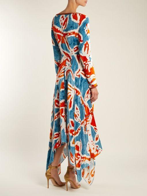 Peter Pilotto Woman Asymmetric Wrap-effect Printed Velvet Dress Navy Size 12 Peter Pilotto Footlocker Finishline Cheap Online Dkdpl3Fi