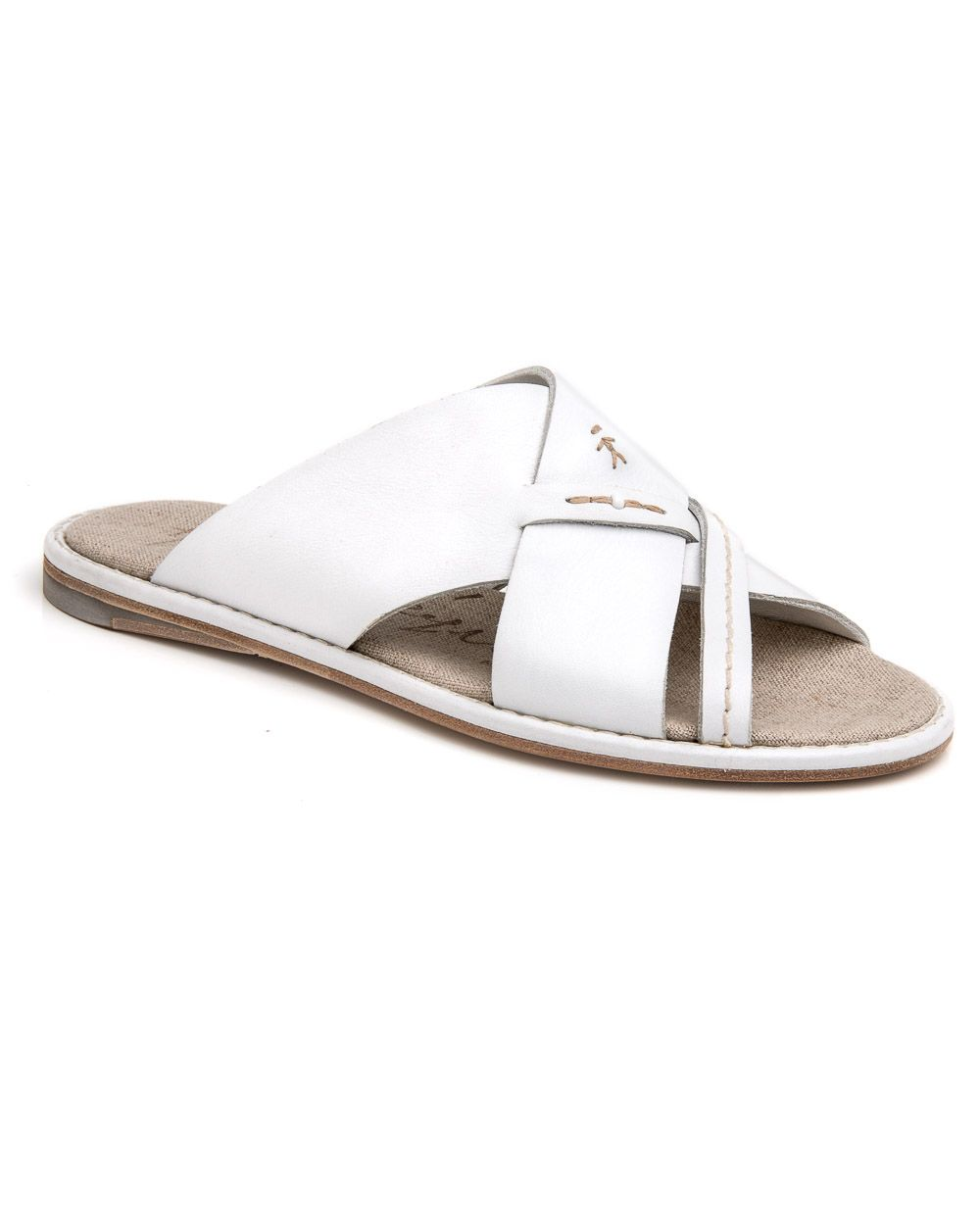 "dae2c690a384b9 Henry Beguelin White Spinner Slide Sandal Rounded open toe Leather sole  Leather upper Tonal stitching Fabric lined footbed .25"" heel"