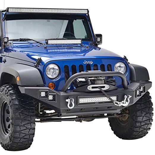 E Autogrilles 07 17 Jeep Wrangler Jk Rock Crawler Full Width Built In Led Lights Black Textured Front Bump Jeep Wrangler Bumpers Jeep Wrangler Jk Jeep Wrangler