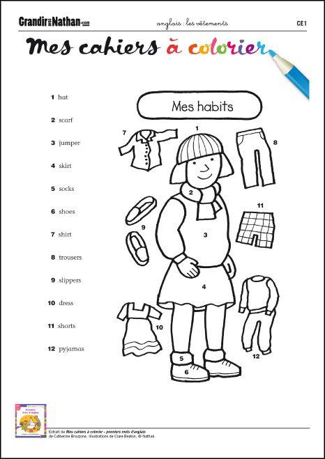 Les vêtements | Anglais ce1, Vêtements anglais, Ce1