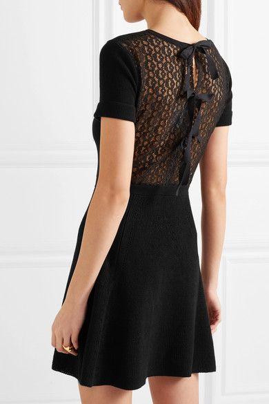 Lace-paneled Cotton Mini Dress - Black Red Valentino 2qk5J8