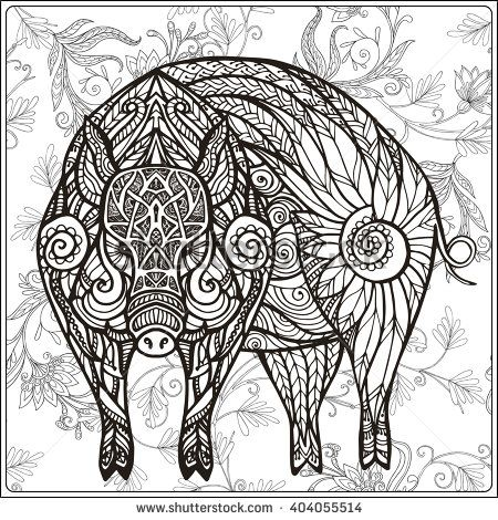Coloring Book For Adult And Older Children Page Outline Drawing Vector Illustration