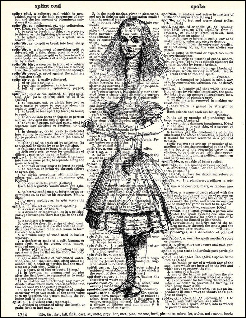Alice In Wonderland Alice Stretch Dictionary Art Prints Your
