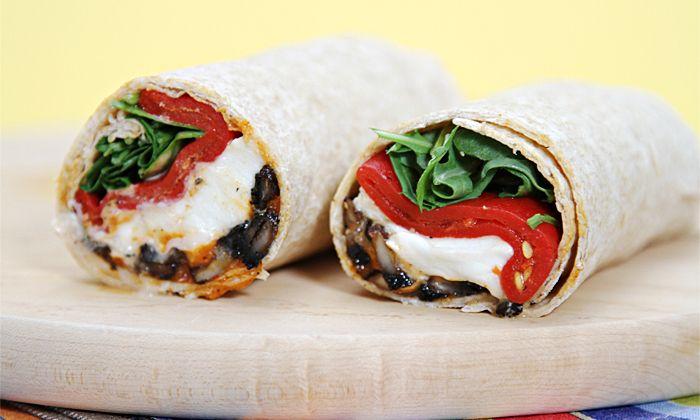 Portobello Mushroom Wraps with Buffalo Mozzarella and Roasted Red Bell Peppers