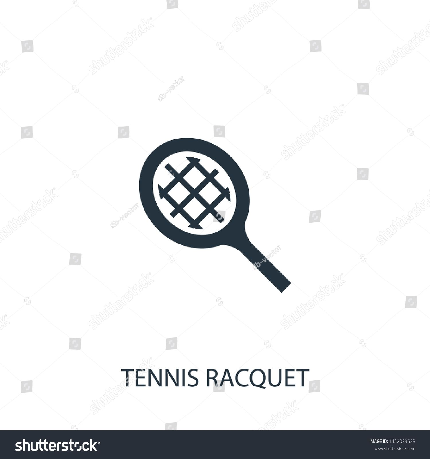 Tennis Racket Black Icon Concept Vector Sign On Isolated Background Tennis Racket Illustration Sym Social Media Design Graphics Oval Sunglass Website Design