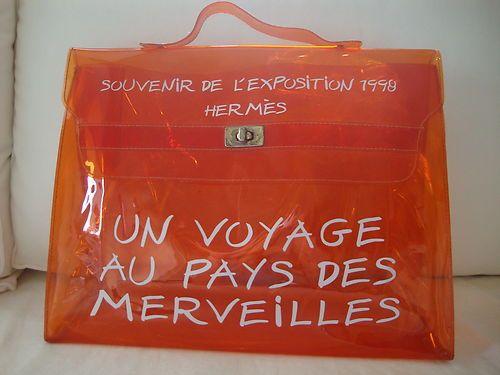 cb5e3c37fa72 Authentic HERMES Clear Vinyl ORANGE Kelly 40 Hand Bag SOUVENIR DE  L EXPOSITION