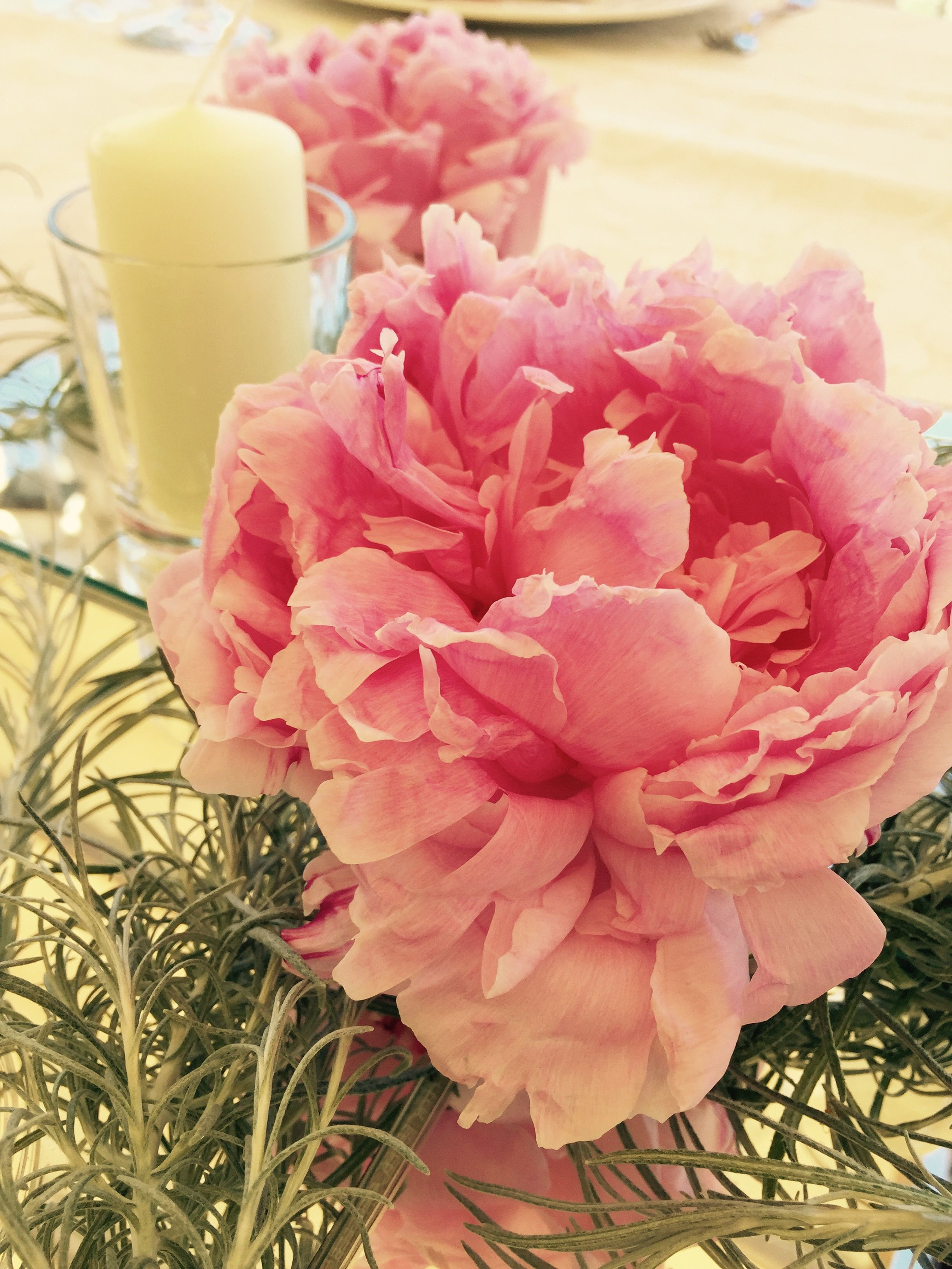 Peonies centerpiece candle wedding day peach green and white