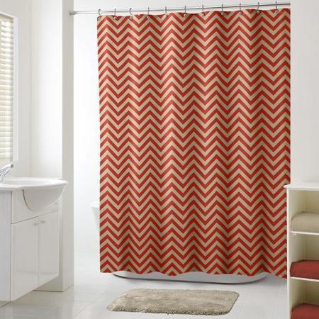 Mainstays Chevron Rust Shower Curtain Shower Curtains Walmart