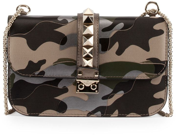 Valentino Camo Glam Lock Rockstud Medium Flap Bag