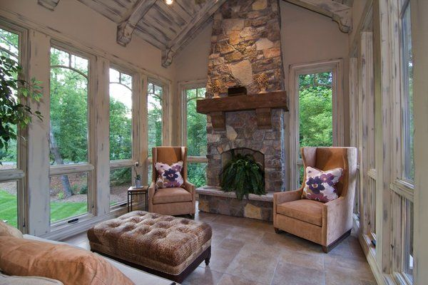 Four Season Porch With Heated Floors I Just Love The Ceilings And