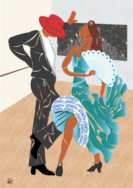 Flamenco Studio. Limited edition from original art.