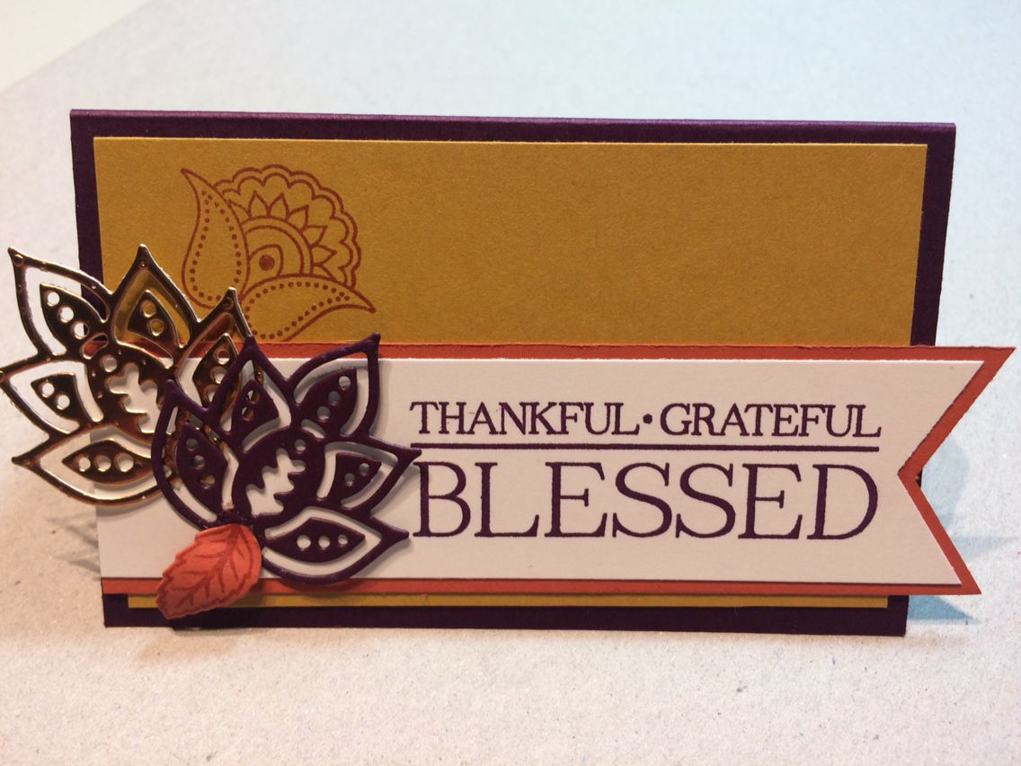 Thanksgiving table setting name tag Stampin Up Paisley & Posies ...