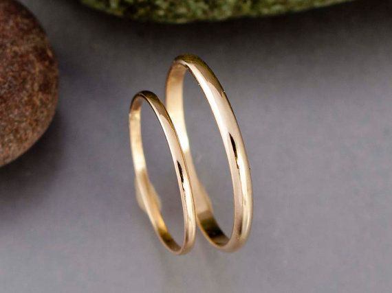Thin Gold Wedding Band Set Minimalist 1 3 And 2mm Wide Half Etsy In 2020 Thin Gold Wedding Band Wedding Rings Sets Gold Gold Wedding Band