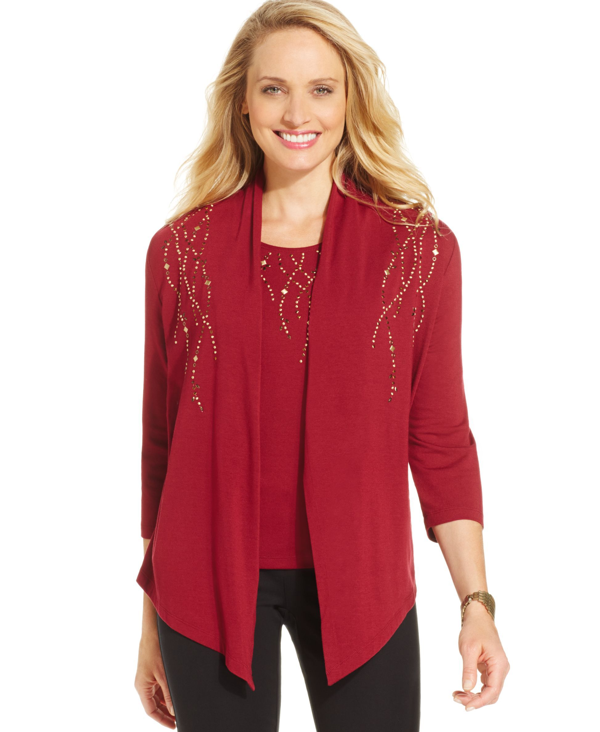 Alfred Dunner Layered-Look Draped Embellished Top