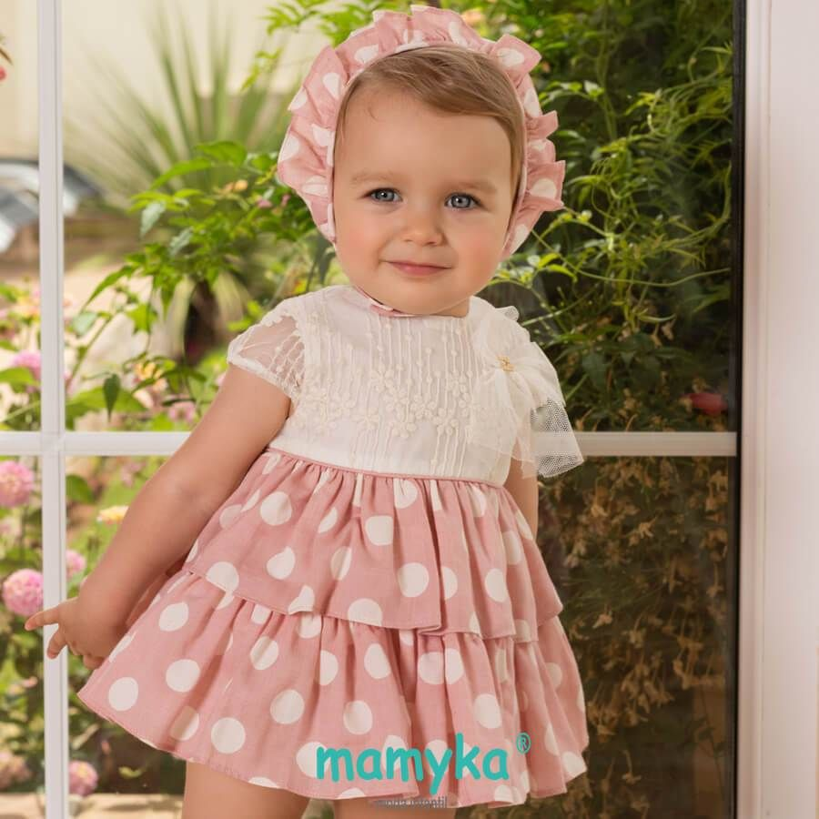 fcb47ee01 Vestido de bebé niña, primavera 2019. Colección Rose   Dolce Petit ...