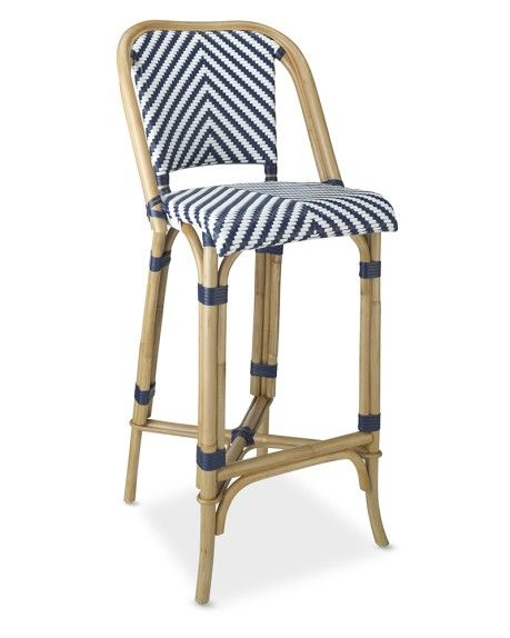 Parisian Bistro Woven Bar Stool Blue White Iron Patio Furniture Bistro Stools Patio Furniture Redo