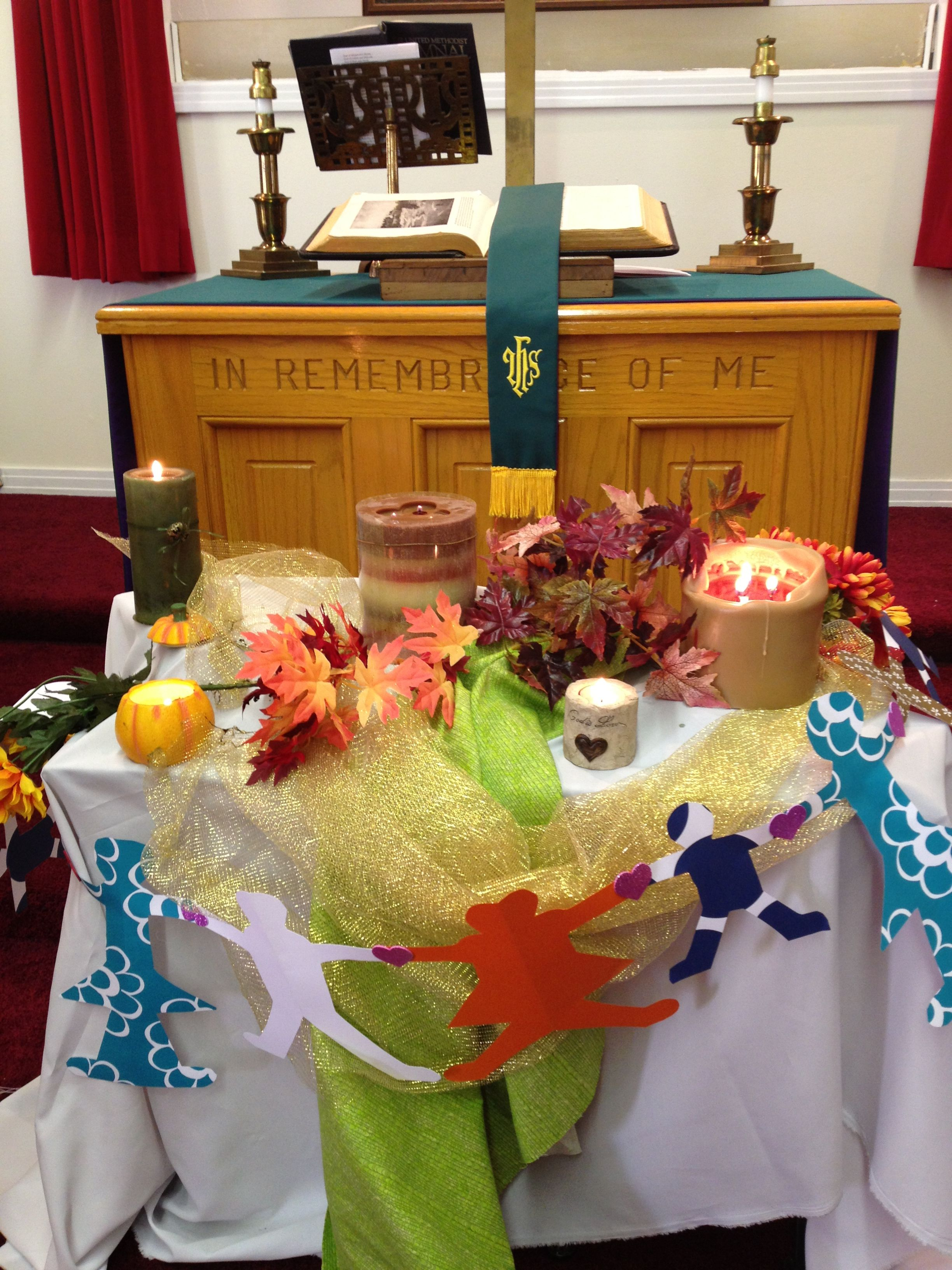 Worship display for All Saints.