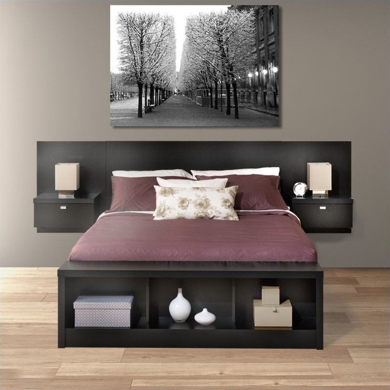 Captivating Platform Storage Bed With Floating Headboard In Black