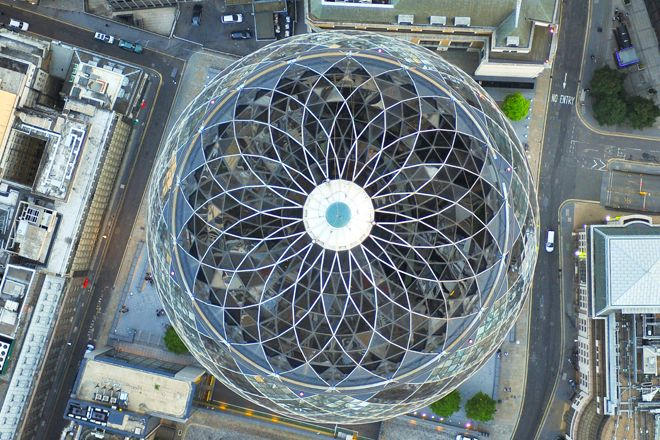 An aerial photograph of 30 St Mary Axe (the Gherkin) in the City of London