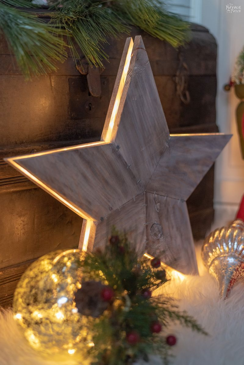 Diy Rustic Wood Star Lights With Free Star Template The Navage Patch Diy Christmas Star Christmas Diy Wood Diy Christmas Tree Topper