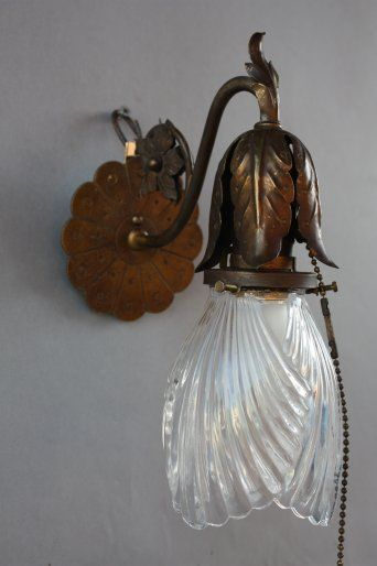 RARE 1920s Downward Glass Shade Wall Sconce Light Lantern Lamp Spanish Revival