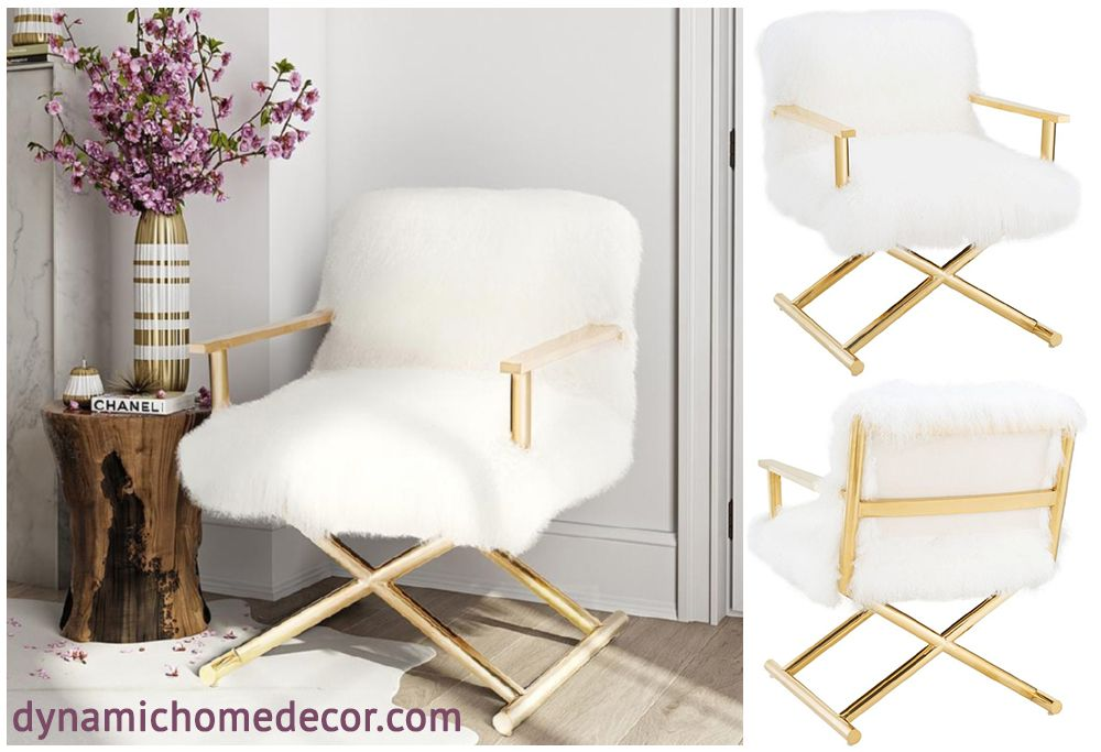 fuzzy white chair rail lowes jodi sheepskin on gold frame by tov furniture modern dynamichome sheep metal glam style bedroom desk office livingroom