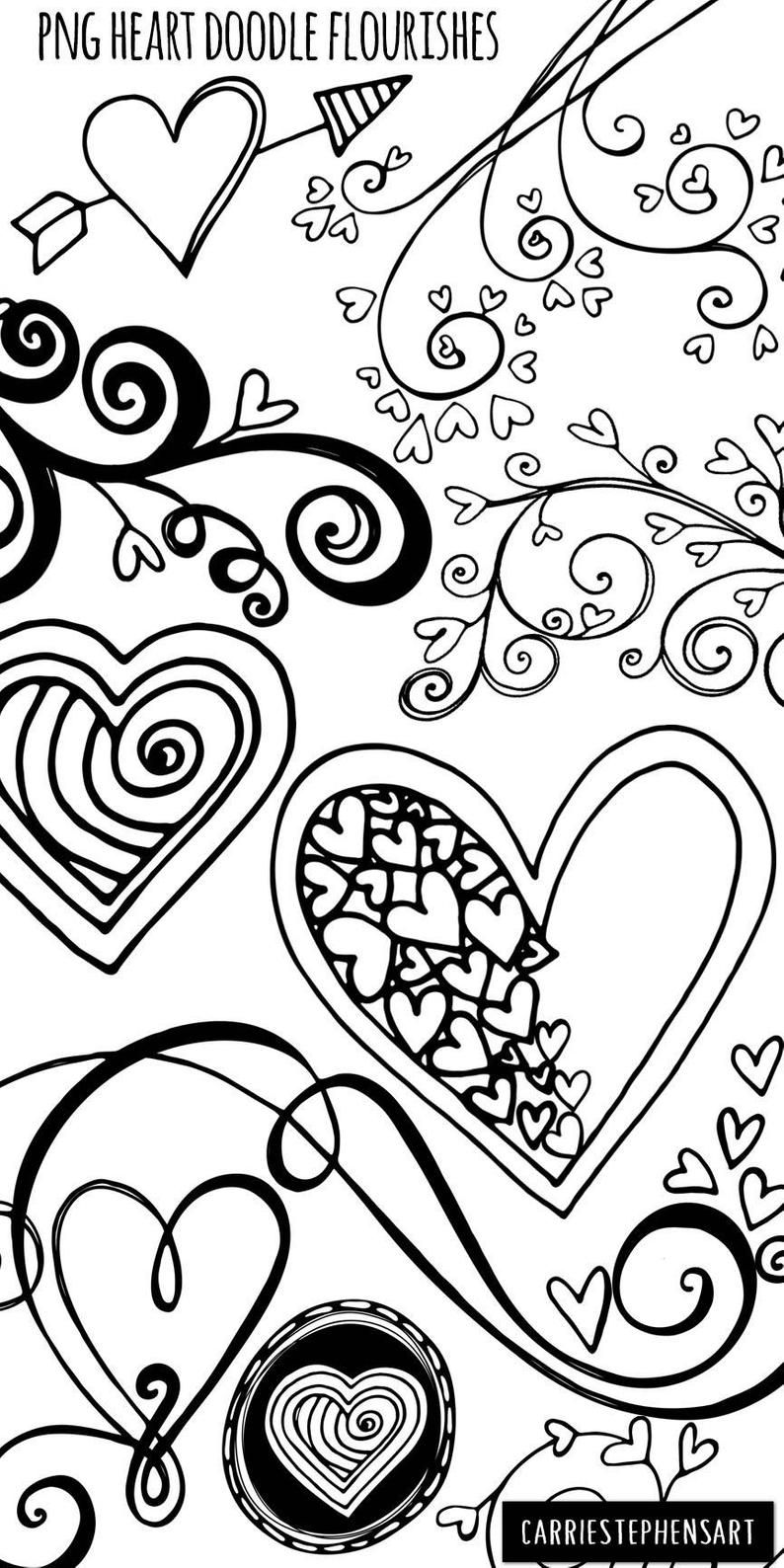 Heart Doodles Clipart Png Printable Valentine Graphics Etsy Heart Doodle Heart Clip Art Valentine Coloring Pages
