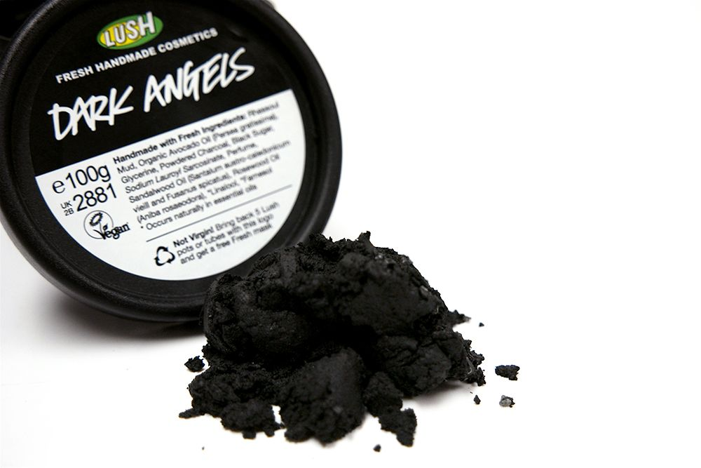 "Dark Angels Facial Cleanser | Lush Cosmetics  ""Black sugar and charcoal gently exfoliate and absorb excess oils to leave dull, oily or acne-prone skin feeling fresh and matte.""  passionsandaddictions.blogspot.com"