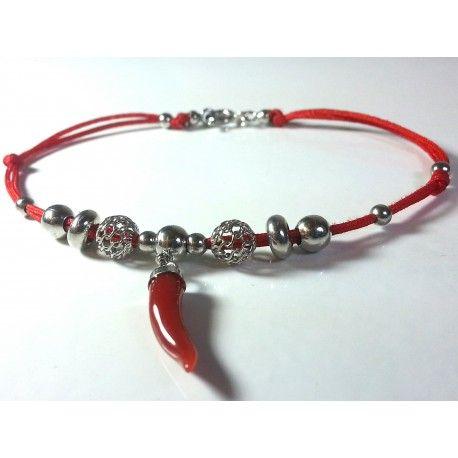 bracciale unisex cordoncino, charms argento rodiato e corno corallo