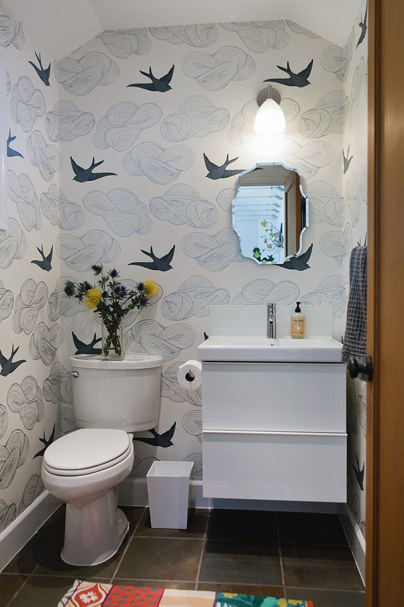 Love This Wallpaper For A Small 1 2 Bath Small Bathroom Wallpaper Small Bathroom Remodel Powder Room Wallpaper