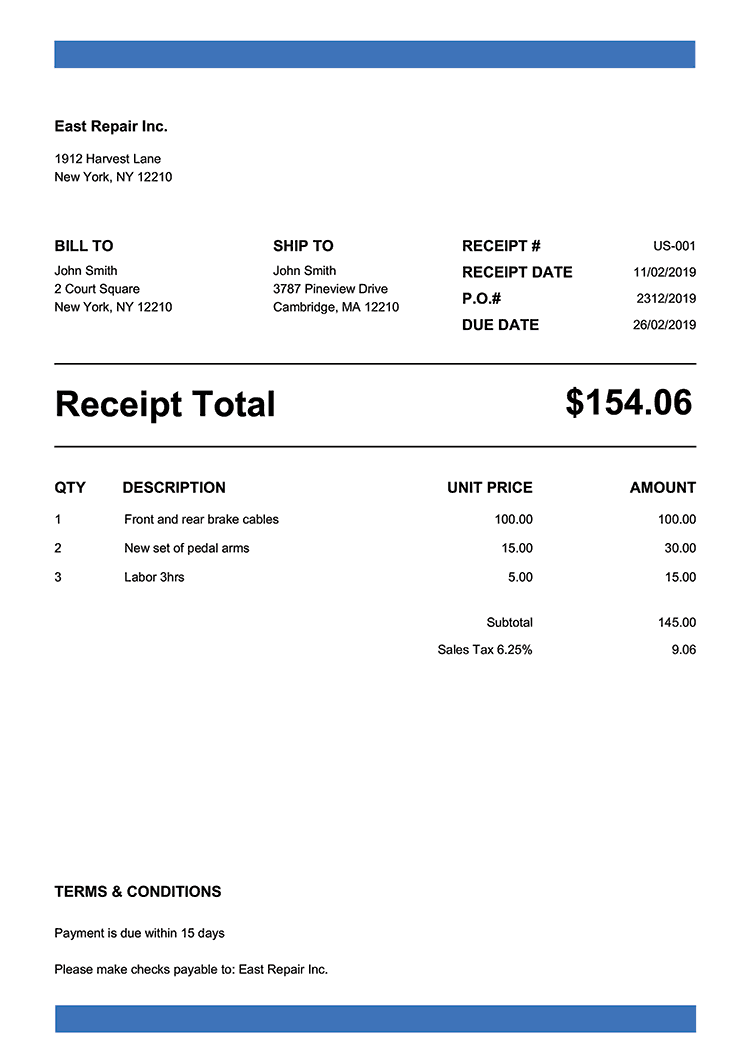 Receipt Template Us Band Blue Invoice Template Free Receipt Template Receipt Template