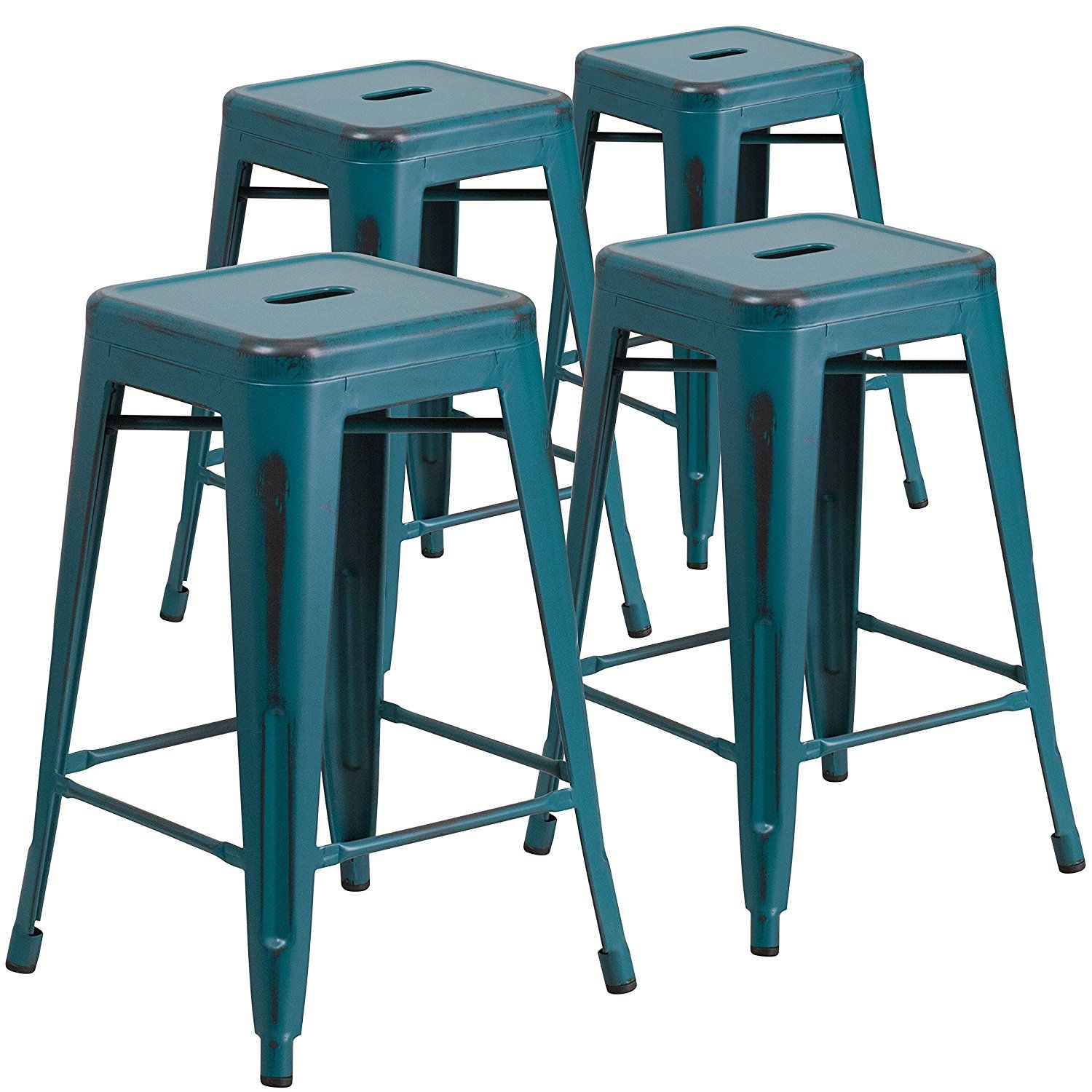 Flash Furniture High Backless Distressed Kelly Metal Indoor Counter ...