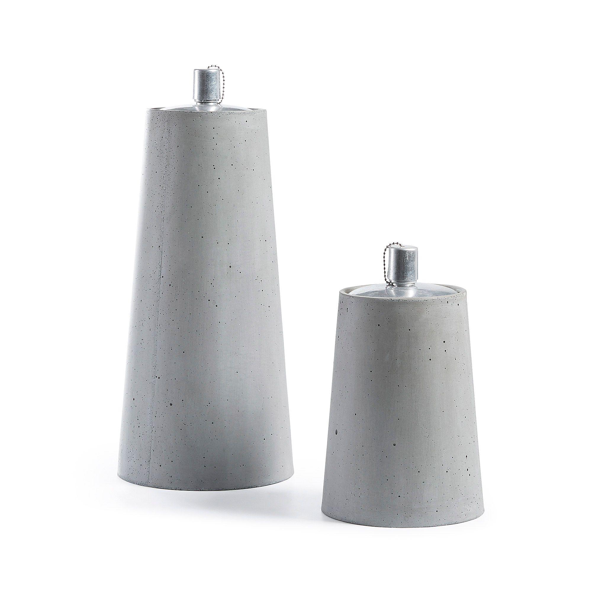 Kave Home Set Low De 2 Lamparas En Poly Cemento Gris