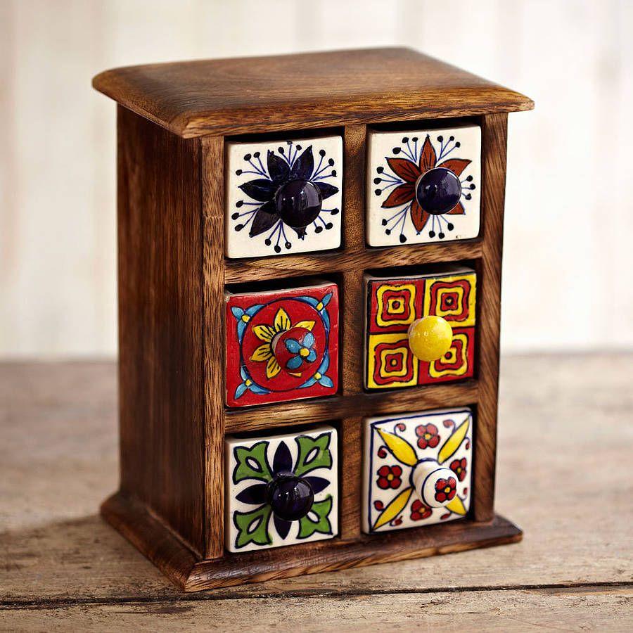 Tea Box With Ceramic Drawers