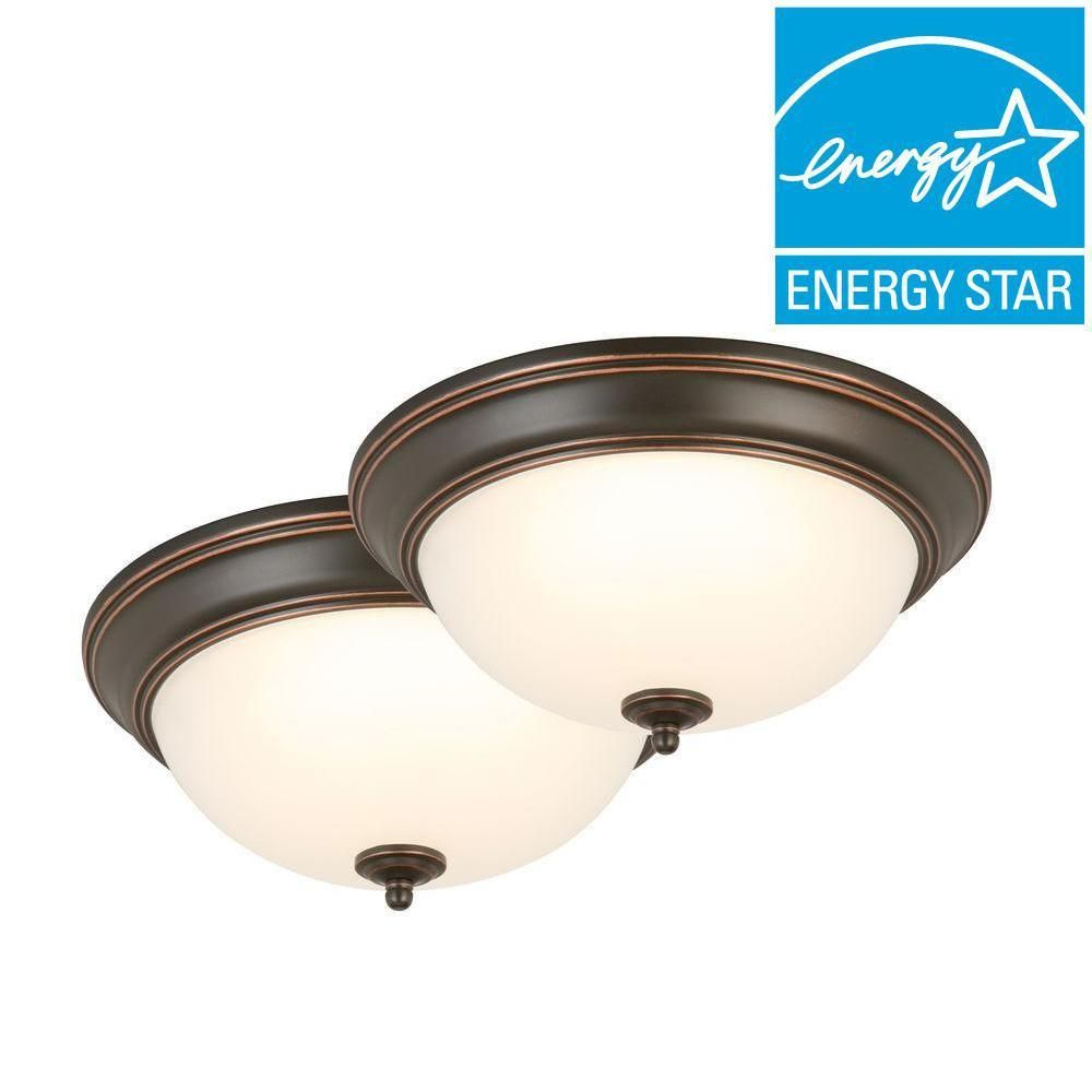 Commercial Electric 13 In. Oil Rubbed Bronze LED Twin Pack Flushmount   Feb Home Design Ideas